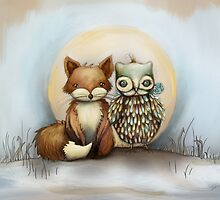 fox and owl by © Karin (Cassidy) Taylor
