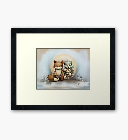 fox and owl Framed Print