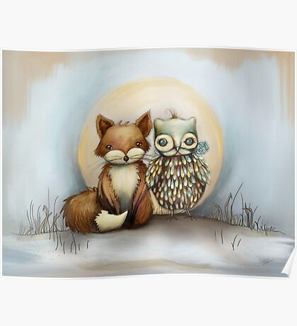 fox and owl Poster