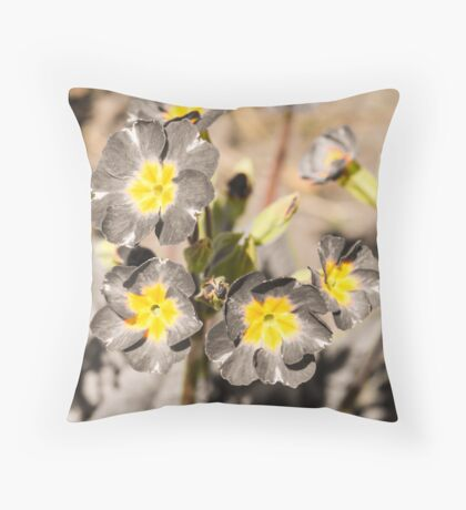 black and white photo with yellow flower Throw Pillow