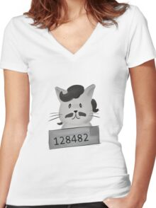 Narco Cat Women's Fitted V-Neck T-Shirt
