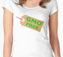 GMO Free Brown Card Label With String Women's Fitted Scoop T-Shirt