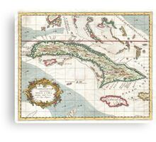 Vintage Map of Cuba and Jamaica (1763) Canvas Print