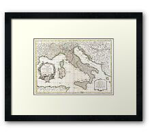 Vintage Map of Italy (1770)  Framed Print