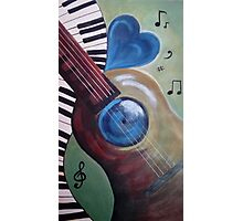 Blue heart Guitar Photographic Print