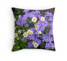 Dancing Daisies and Shrinking Violets Throw Pillow