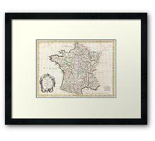 Vintage Map of France (1771)  Framed Print