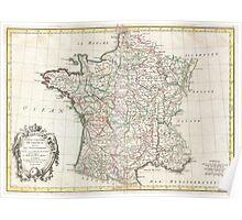 Vintage Map of France (1771)  Poster