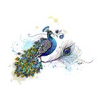 Blue Paisley Peacock by © Karin  Taylor