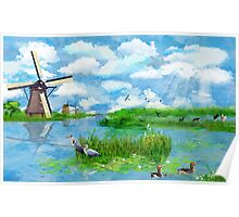 Kinderdijk - a Dutch Landscape Poster