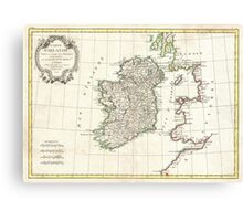 Vintage Map of Ireland (1771) Canvas Print