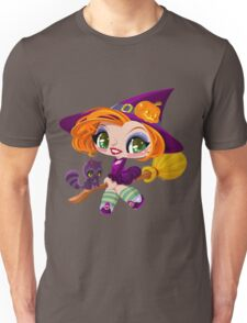 Little cute witch flying on a broom. Unisex T-Shirt