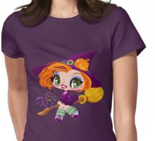 Little cute witch flying on a broom. Womens Fitted T-Shirt
