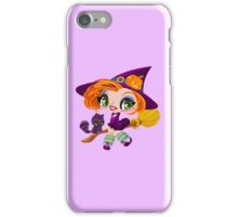 Little cute witch flying on a broom. iPhone Case/Skin