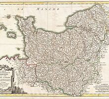 Vintage Map of Normandy (1771)  by BravuraMedia