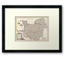 Vintage Map of Normandy (1771)  Framed Print