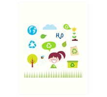 Recycle, nature and ecology icons isolated on white background Art Print