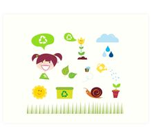Agriculture, garden and nature icons isolated on white background Art Print