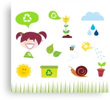 Agriculture, garden and nature icons isolated on white background Canvas Print