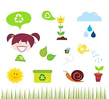 Agriculture, garden and nature icons isolated on white background Photographic Print