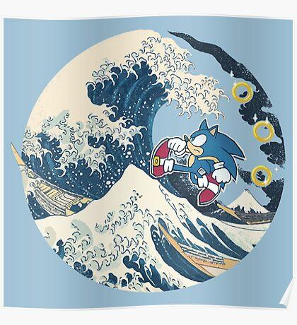 Sonic the Hedgehog - Hokusai Poster