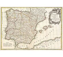 Vintage Map of Spain (1775)  Photographic Print