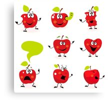 Funny red Apple fruit characters isolated on white background Canvas Print