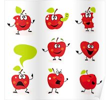 Funny red Apple fruit characters isolated on white background Poster