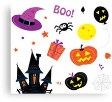 Halloween icons set isolated on white / Halloween mix for kids Canvas Print