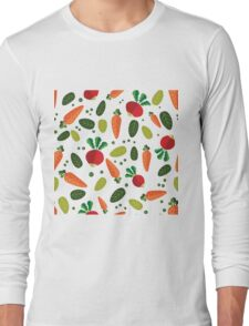 Healthy Colorful Vegetables Pattern Long Sleeve T-Shirt