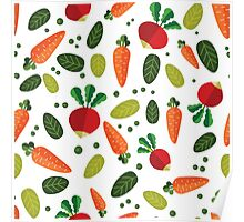 Healthy Colorful Vegetables Pattern Poster
