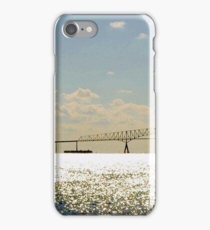 Sailing by Key Bridge at Sunrise iPhone Case/Skin