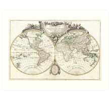 Vintage Map of The World (1775) Art Print