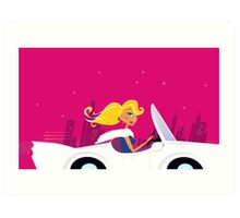 Girly Chick Driver in a Convertible Car : handdrawn Art edition for woman CEO Art Print