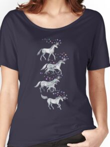 Unicorns and Stars on Dark Teal Women's Relaxed Fit T-Shirt