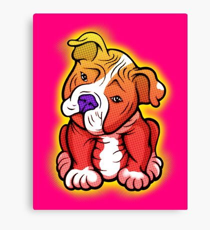 Tilted Head Pit Bull Pup Graphic Canvas Print