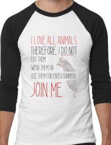 Love All Animals - White Men's Baseball ¾ T-Shirt