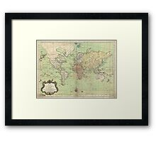 Vintage Map of The World (1778) Framed Print