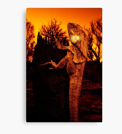 Frilled Neck Lizard on a Log Destroyed by Bushfire Canvas Print