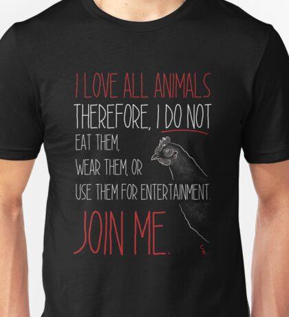 Love All Animals - Black Unisex T-Shirt