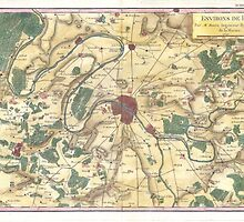 Vintage Map of Paris and Surrounding Areas (1780) by BravuraMedia