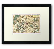 Vintage Map of Paris and Surrounding Areas (1780) Framed Print