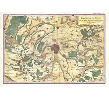 Vintage Map of Paris and Surrounding Areas (1780) Photographic Print