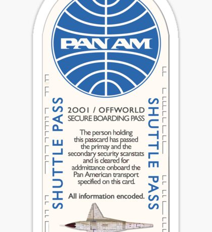 2001 A Space Odyssey Clipper Orion boarding pass Sticker