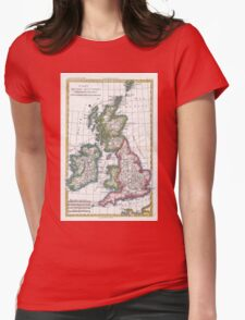 Vintage Map of British Isles (1780) Womens Fitted T-Shirt