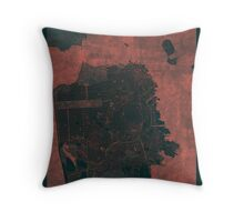 San Francisco Map Red Throw Pillow