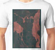 Seattle Map Red Unisex T-Shirt