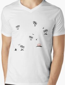 Palm tree sunset Mens V-Neck T-Shirt