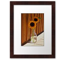 Sun Flowers in Glass Jug Digital Oil Painting  Framed Print