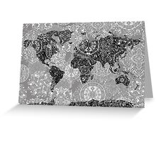 world map mandala 1 Greeting Card